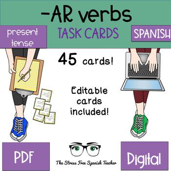 present 45 år Spanish  AR Verbs Task Cards! 45 Cards! Editable! (present tense) present 45 år