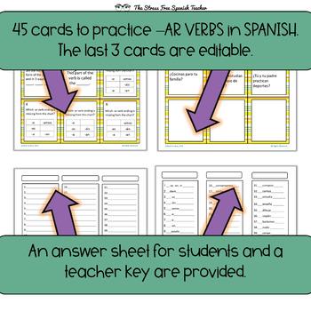 Spanish -AR Verbs Task Cards! 45 Cards! Editable! (present tense)