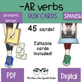 Spanish -AR Verbs Task Cards PRESENT TENSE 45 cards EDITABLE CARDS INCLUDED