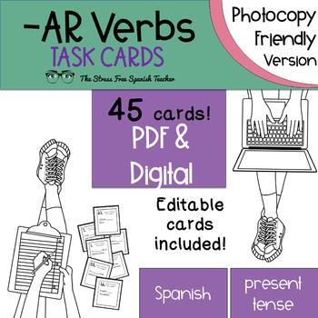 Spanish -AR Verbs Task Cards! 45 Cards! (present tense) Ph