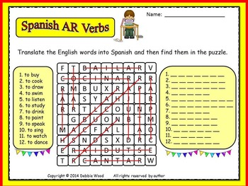 Spanish AR Verbs:  Translate and Find Word Search FREEBIE