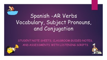 Spanish -AR Verbs Vocabulary and Assessment Bundle