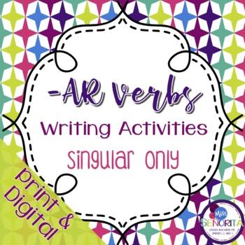 Spanish -AR Verbs Writing Activities - singular