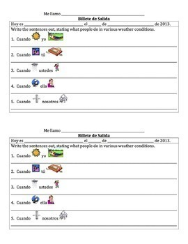Spanish -AR Verbs with Weather Lesson