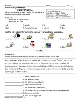 Spanish -AR and -ER Verbs Lesson