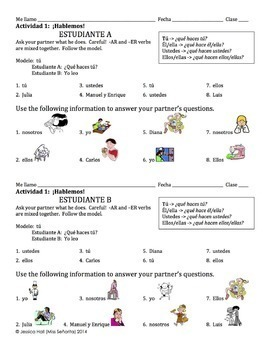 Spanish -AR and -ER Verbs Speaking Activity