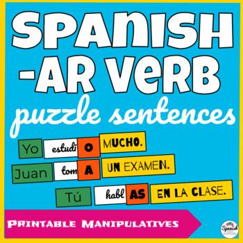 Spanish AR verb hands-on activity: puzzle sentences
