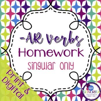 Spanish -AR verbs Homework - singular