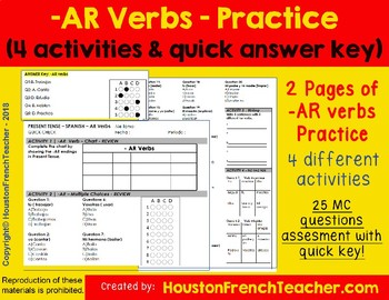 Spanish -AR verbs Practice - Diverse Activities worksheet with Quick Answer  Key