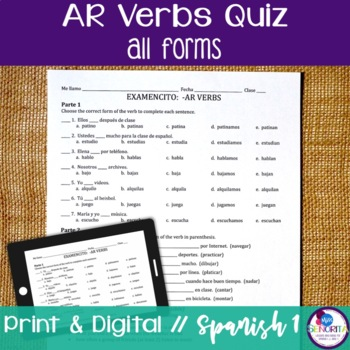Spanish -AR verbs Quiz