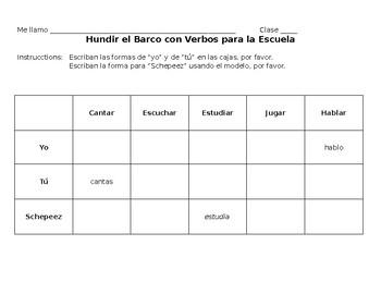"Spanish- -AR verbs ""yo"" and ""tú"" Battleship Conjugation"