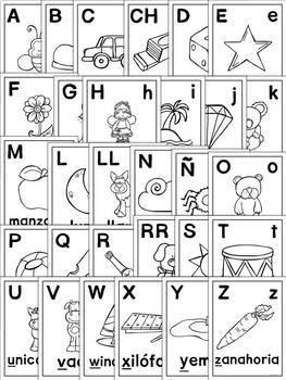 Spanish Abecedario Posters - Alfabeto in Color and Black and White