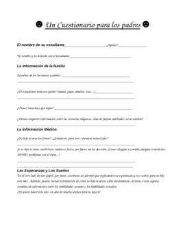 Spanish About Me Survey and Parent Questionnaire