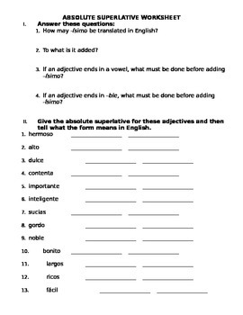 Spanish Absolute Superlative Worksheet by A\'s Items | TpT