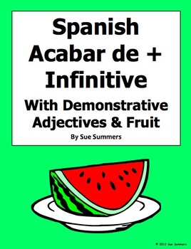 Spanish Acabar De + Infinitive With Demonstrative Adjectives and Fruit