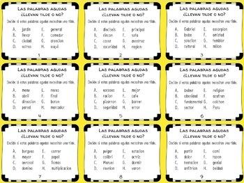 Spanish Accent Mark Task Cards: Las Palabras Agudas
