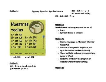 Spanish Accent Shortcuts / Las teclas en español