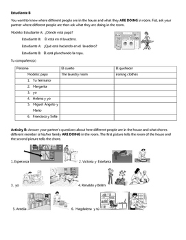 Spanish Activity: Partner Communicative: La casa y chores question and answer