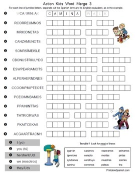 Spanish Action Kids Puzzle Packet