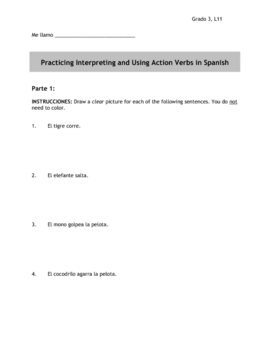 Spanish Action Verbs for 3rd Person Singular Present Tense