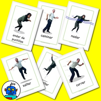 Spanish Actions flash cards. Hop, jump, run, swim, tip toe, walk.