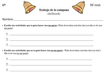Spanish Activities - Bellwork TC61A PDF