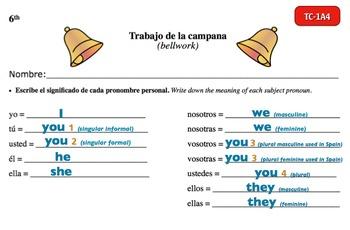 Spanish Activities - Bellwork TC61A Powerpoint