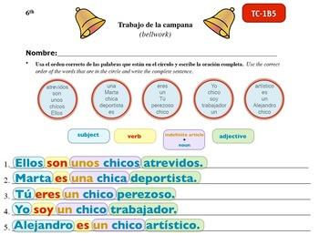 Spanish Activities - Bellwork TC61B Keynote
