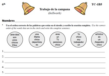 Spanish Activities - Bellwork TC61B PDF