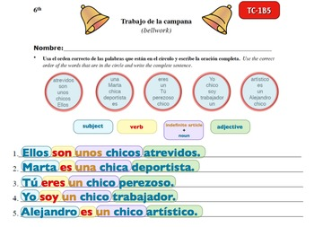 Spanish Activities - Bellwork TC61B Powerpoint