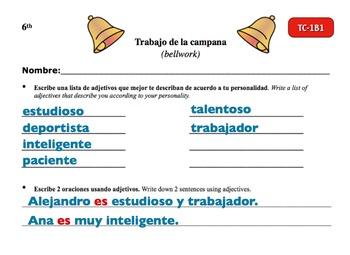 Spanish Activities - Bellwork TC61B Powerpoint