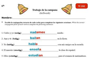 Spanish Activities - Bellwork TC62A Keynote
