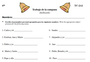 Spanish Activities - Bellwork TC62A PDF