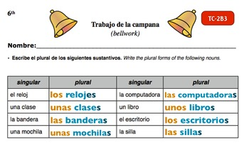 Spanish Activities - Bellwork TC62B Keynote