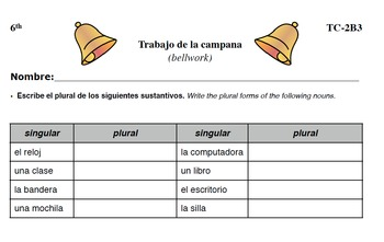 Spanish Activities - Bellwork TC62B PDF
