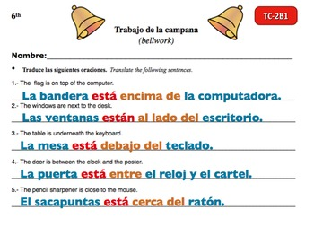 Spanish Activities - Bellwork TC62B Powerpoint