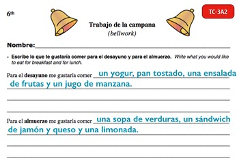 Spanish Activities - Bellwork TC63A Keynote
