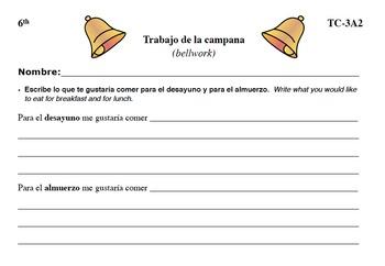 Spanish Activities - Bellwork TC63A PDF