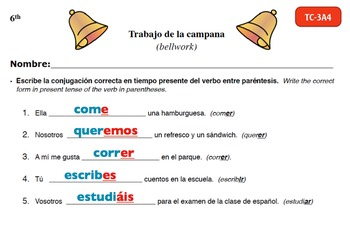 Spanish Activities - Bellwork TC63A Powerpoint