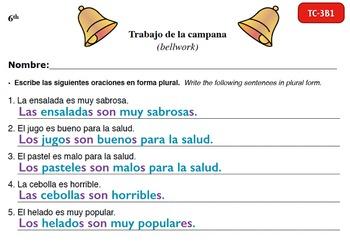 Spanish Activities - Bellwork TC63B Keynote