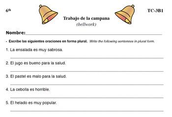 Spanish Activities - Bellwork TC63B PDF