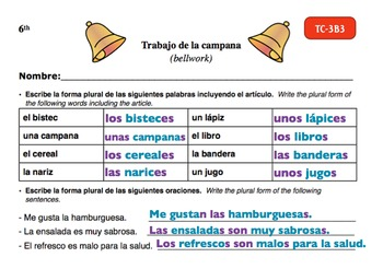 Spanish Activities - Bellwork TC63B Powerpoint