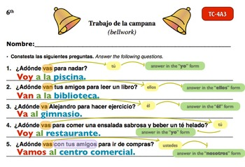 Spanish Activities - Bellwork TC64A Keynote