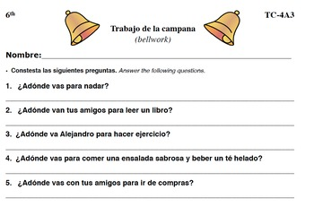 Spanish Activities - Bellwork TC64A PDF