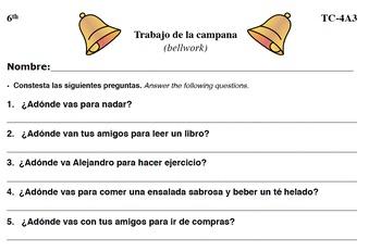 Spanish Activities - Bellwork TC64A PDF