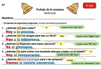 Spanish Activities - Bellwork TC64A Powerpoint