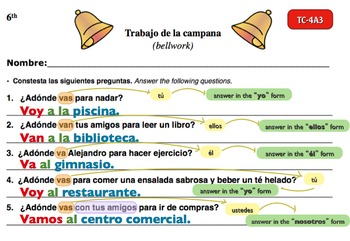 Spanish Activities - Bellwork TC64A Powerpoint