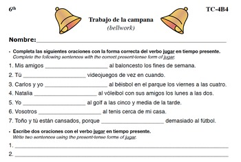 Spanish Activities - Bellwork TC64B PDF