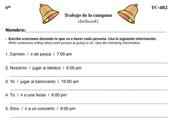 Spanish Activities - Bellwork TC64B PDF