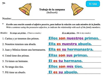 Spanish Activities - Bellwork TC75A Keynote